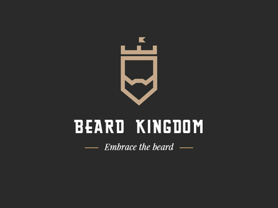 Beard Kingdom Logo castle king kingdom beard logotype logo