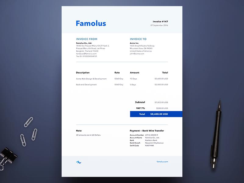 Famolus Invoice clean simple branding minimal print template agency freelance invoice