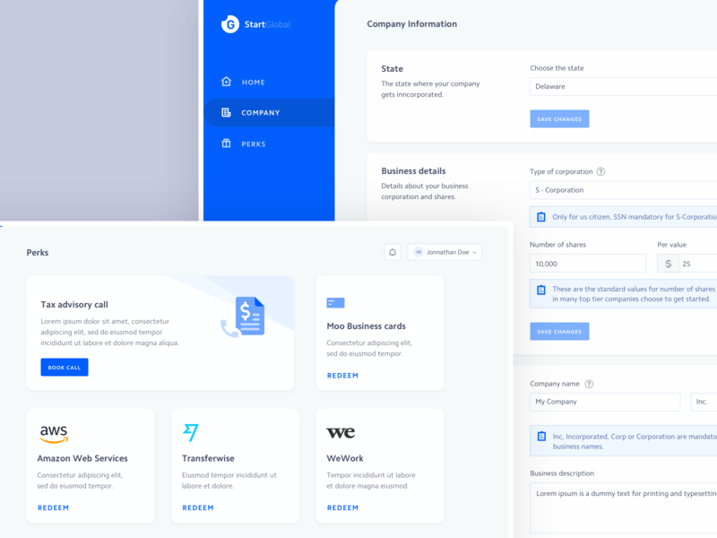 Company details and Perks home clean cards company edit perks dashboard icon minimal vector vlockn web typography app ux design ui