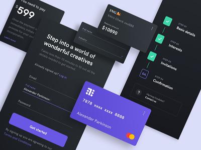 Fintech App Darkmode ui forms credit card dark mode fintech app web design