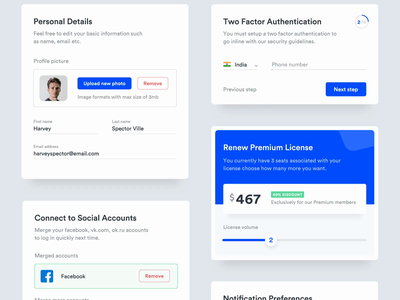 Settings - Component Elements two factor authentication preferences notification social accounts cards forms settings pricing profile components ui animation