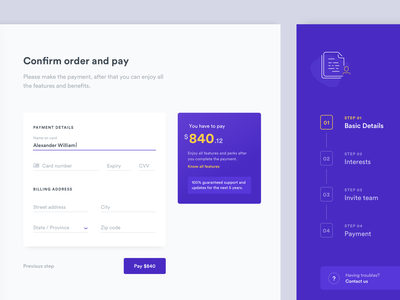 Confirm and pay amount minimal clean ui design app application billing money steps cards form onboarding checkout ui