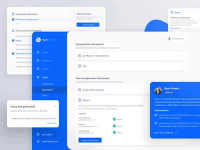 Legal page design elements notes incorporation company profile share menu status blue clean website startglobal app documents legal product web web design dashboard ux ui