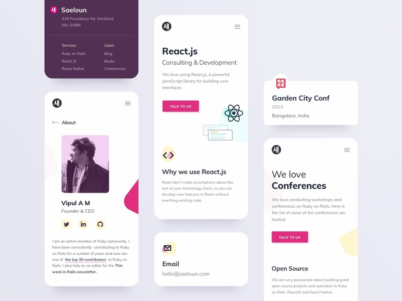 Saeloun Responsive Components icon app development react ruby profile minimal responsive ux ui footer menu mobile web