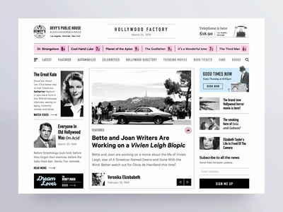 Retro news web app minimal clean hollywood story news app article media blog typography design web app news retro old vintage ux ui animation