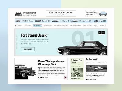 Retro Car News typography design after effects cars article slider retro vintage ux ui news app website web animation