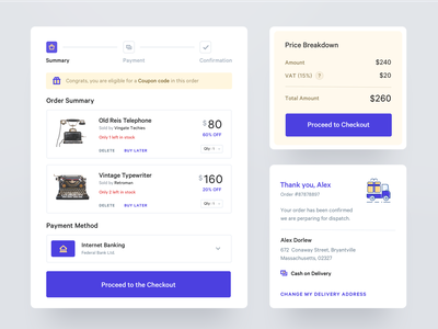 Ecommerce Widgets ui design ecommerce components web app ux ui