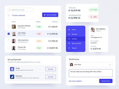 Invoicing Elements clients payments form menu table app invoice components mobile ux ui