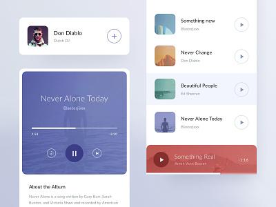 Minimal music app player playlist songs minimal app mobile ui music