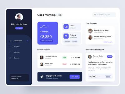 Freelancer Dashboard clients menu projects freelance web app web dashboard ux ui