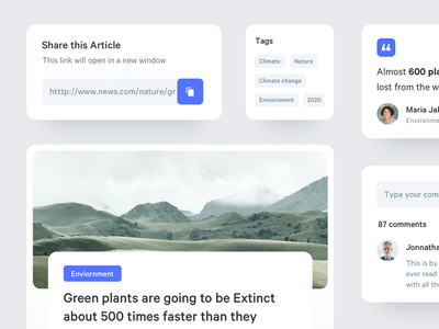 Article Components ux ui minimal web forms quote share comments story components app article media news