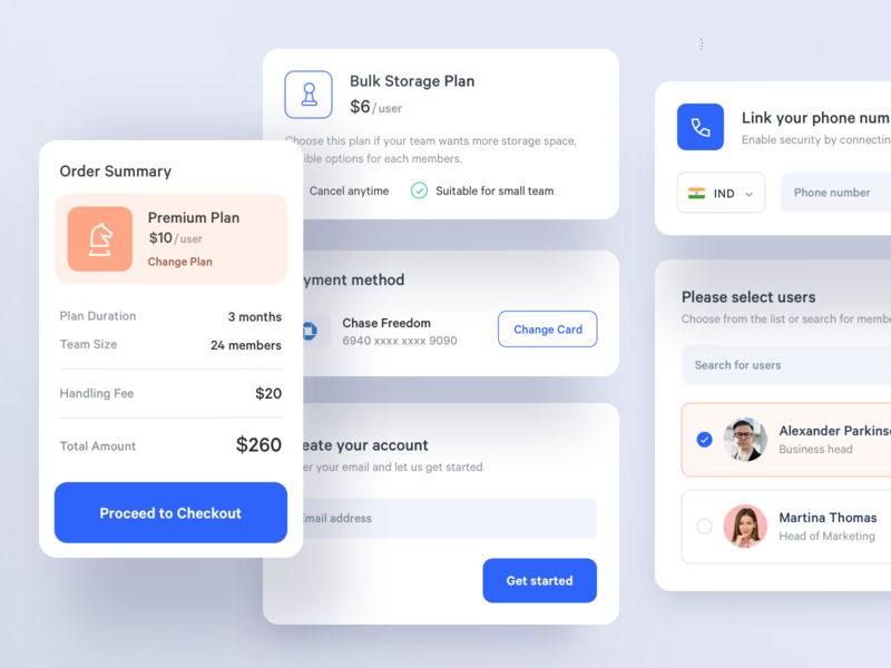 App Components ui kit subscription checkout users payment components app ux ui