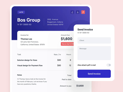Invoice Customization component company clients form send invoice billing invoice ux ui animation