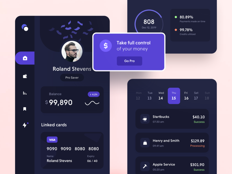 Darkmode Components profile dashboard menu payment credit card money transaction app components mobile fintech ux ui dark mode