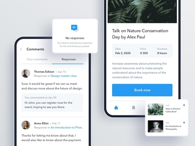 Events and Responses minimal app design ux ui responses comments event mobile