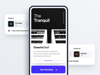 Hotel Onboarding minimal app ux ui interaction animation booking hotel onboarding mobile