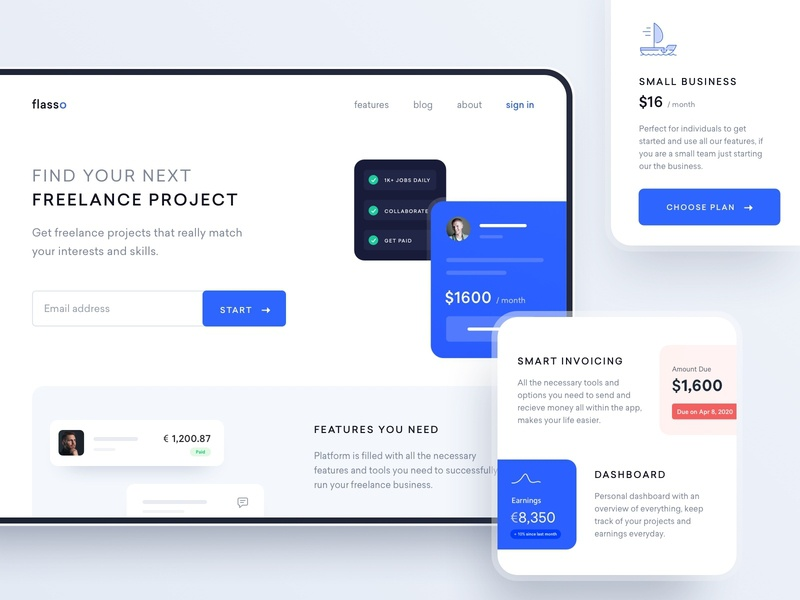 Product website freelance hero section minimal features pricing landing page marketing website ux ui