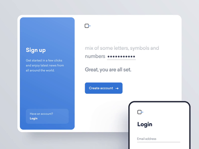 Signup Interaction app ux ui minimal bot interaction animation signup website