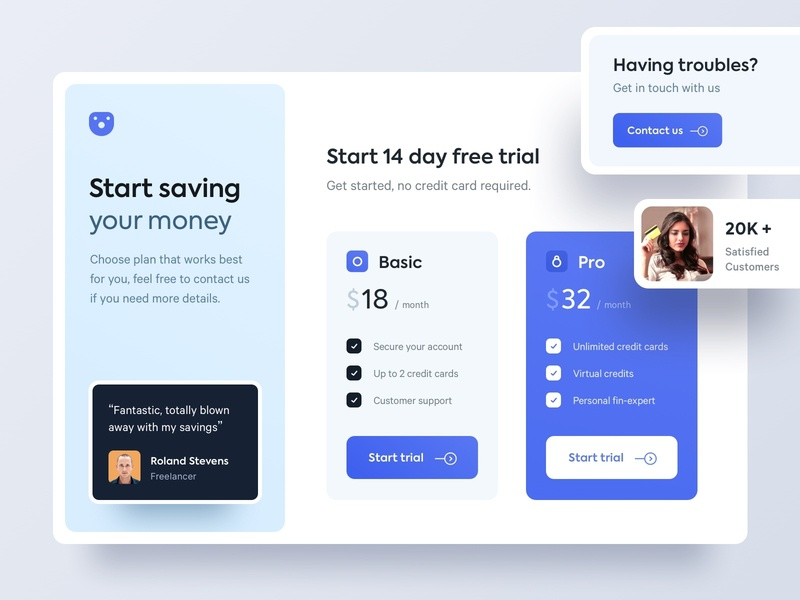 Pricing Page payments money fintech credit card pricing ux ui website