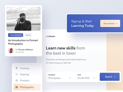 Landing Page Redesign ux ui hero redesign search web design class workshops events landing page website