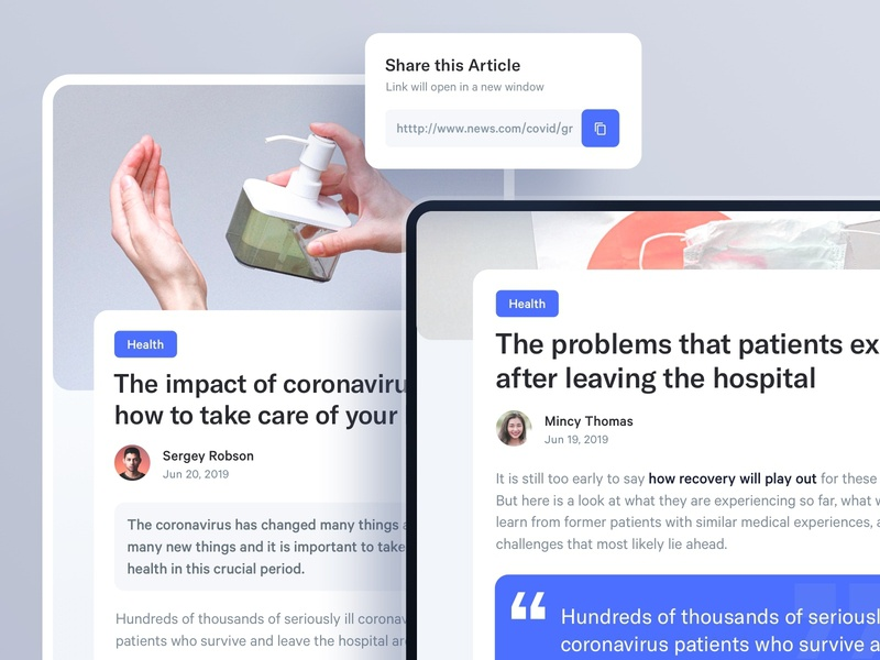 Article Page app components minimal ux ui media news mobile tablet article