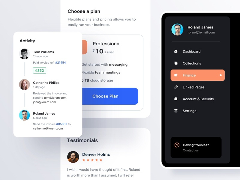 Components v3 dashboad dark mode dark theme ui kit activity testimonials pricing menu navigation mobile ux ui components