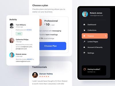Components v3 dashboad dark mode dark theme ui kit activity testimonials pricing menu navigation mobile ux ui components