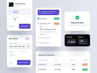 Fintech Components forms table billing success stepper components credit card money finance ux ui app mobile fintech