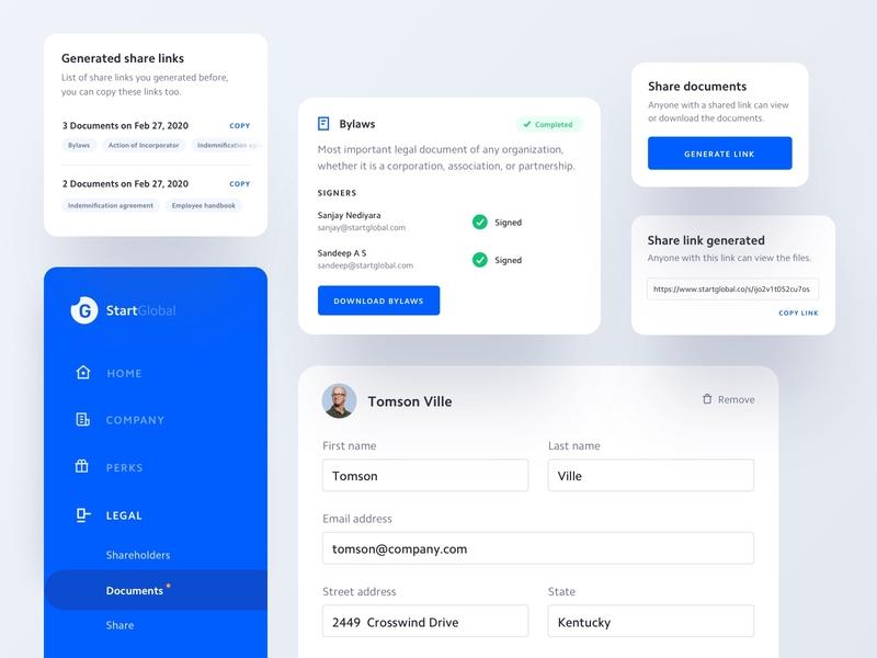 Legal Components app form menu legal startglobal components mobile ux ui