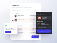 Manage Users credit card payment fintech users components ux ui mobile