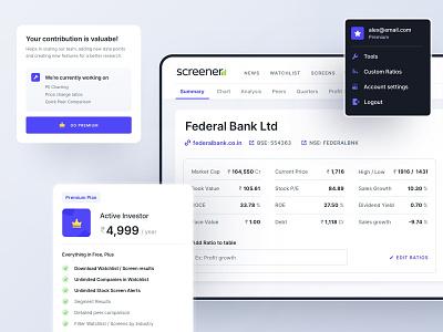 Screener Redesign mobile premium pricing company finance investors stocks redesign screener components ux ui