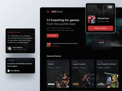 Metafy Landing Page featured lesson pubg app web courses coaching super smash bros league of legends fortnte testimonial hero dark mode website landing page esports game metafy ux ui