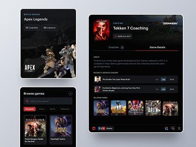 Metafy Redesign tabs landing page tekken esports coaching games mobile tablet metafy web ux ui