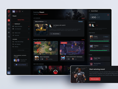 Student Dashboard games dark mode lessons coaching metafy esports web ux ui dashboard student