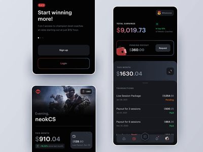 Wallet Page ux ui ios14 credit card transactions graph payment esports game coaching metafy app mobile animation wallet ios