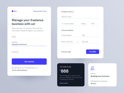 Form Elements payment credit card freelance components mobile sign up login form ux ui