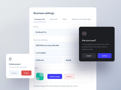 Company Settings payment company modal form settings components mobile ux ui