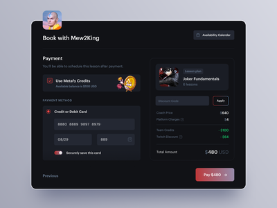 Checkout Modal modal credit card payment metafy esports booking mobile checkout ux ui