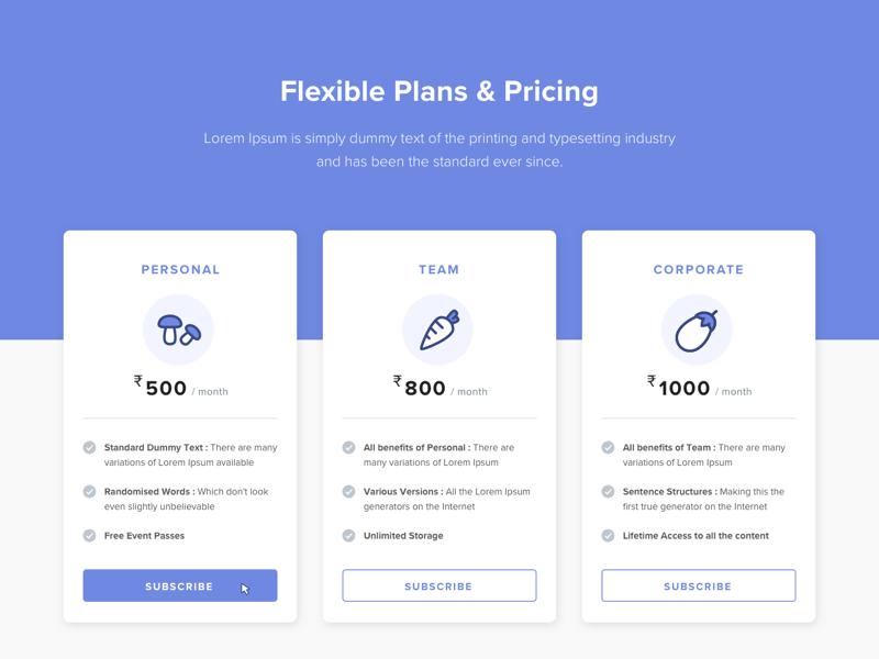 Subscription Plans pricing ui ux web design subscription dailyui challenge