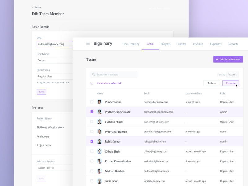 Team List - AceInvoice edit tracking list page team aceinvoice bigbinary ruby web development illustration icon flat logo vector typography web app ux design ui