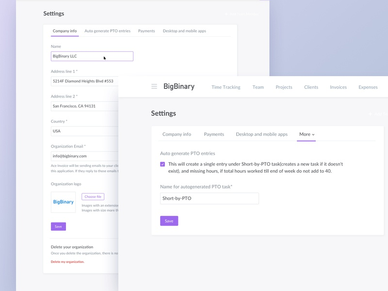 Settings Page Redesign ios minimal type web development logo design typogaphy organization user settings invoice ux ui web app aceinvoice