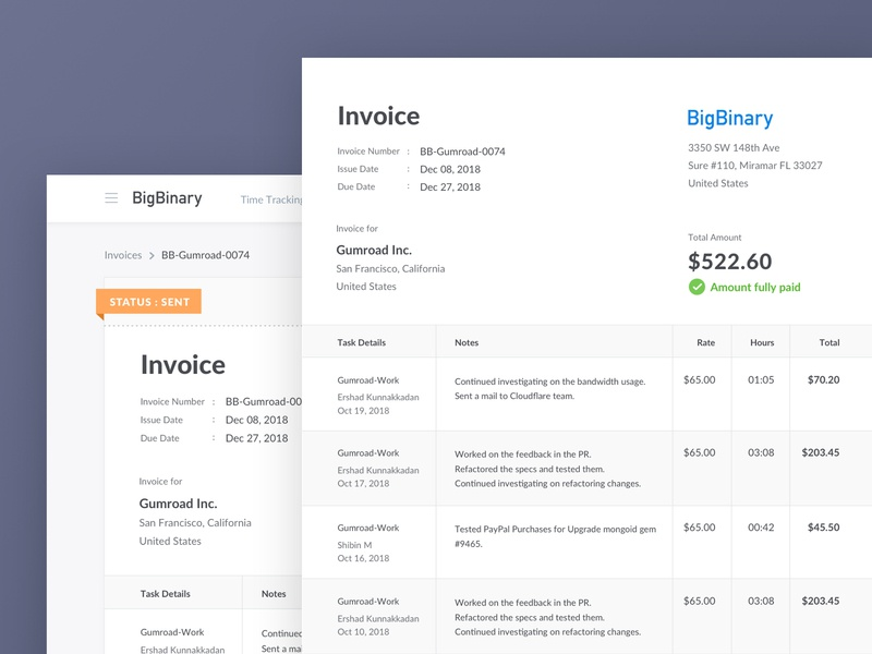 Invoices Design Improvements vlockn users time tracker invoicing accounts money amount paid aceinvoice clients billing invoices web development vector typography web app ux design ui