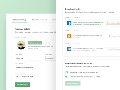 Account settings page vlockn social profile user account settings account minimal website typography web app ux design ui