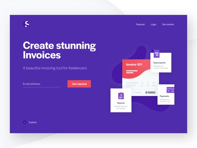Invoice product marketing page
