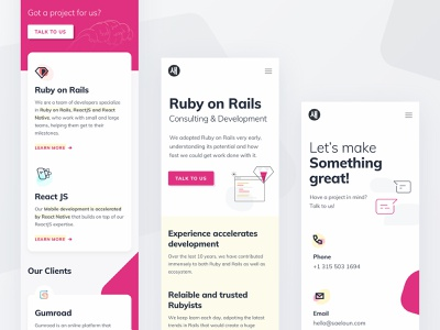 Saeloun mobile designs vlockn icon ruby on rails ruby minimal illustraion material cards clean usability mobile responsive saeloun vector typography web app ux design ui