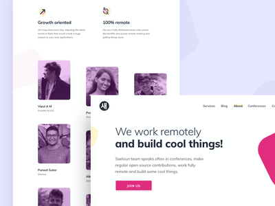 Saeloun / About about us modern remote culture team about web development icon minimal vector vlockn web typography app ux design ui