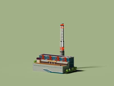 Public Building | Power Station of Art pixelart pixel voxelart magicavoxel museum design space building architecture voxel 3d