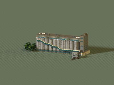 Public Building   80000-tons Silo Warehouse voxelart magicavoxel space architecture building voxel