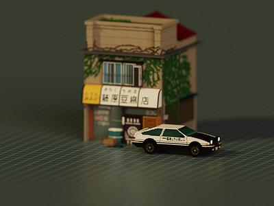 Moment   Initial-D illustration design building 3d voxel