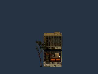 Shopfront   Esc cafe pixelart pixel illustration design space architecture building 3d voxel